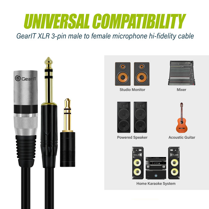 "GearIT 1/4"" (6.35mm) TRS to XLR Male Cable with 1/8"" (3.5mm) Adapter - GearIT"