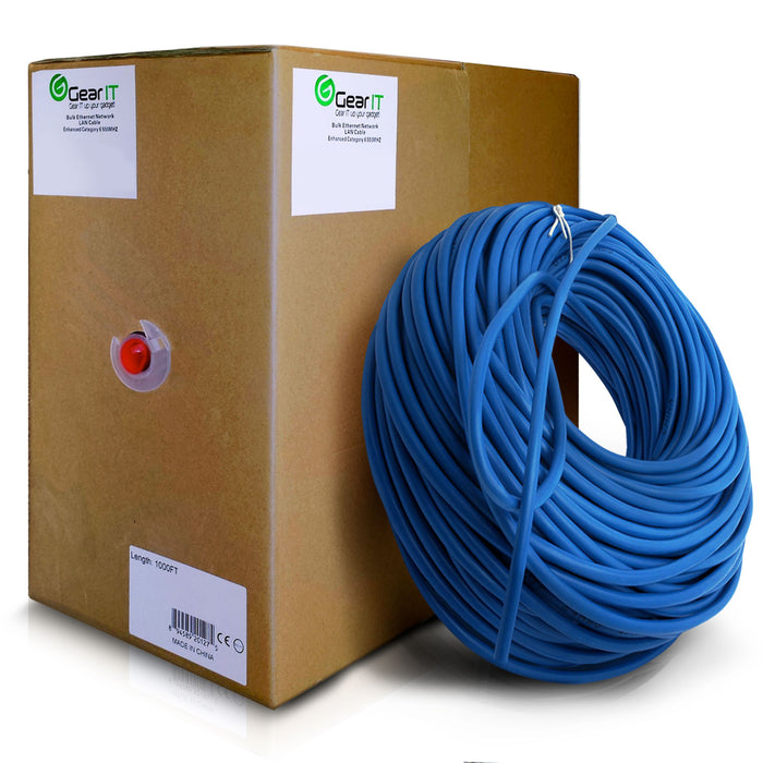 GearIT 1000 Feet Bulk, Cat6 Ethernet Cable, 550Mhz, 23AWG, Solid Copper Wire, (CMR) Riser Rated, UTP, Pull Box