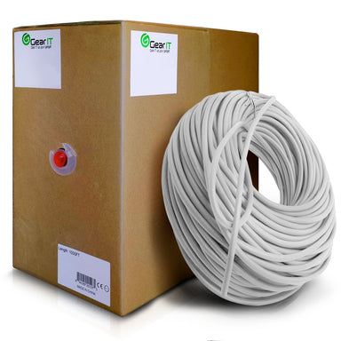 GearIT 1000 Feet Bulk, Cat5e Ethernet Cable, 350MHz, 24AWG, (Solid) Bare Copper Wire, (CMR) Riser Rated, Pull Box - www.gearit.com