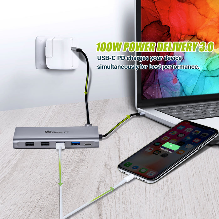 GearIT 12-in-1 USB-C Hub with PD 100W - 3 HDMI Ports - Support Triple Monitors - GearIT
