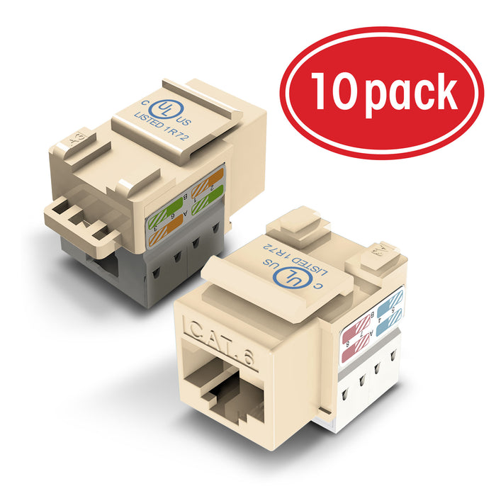 GearIT (10-Pack) Cat6 RJ45 Keystone Jack, Punch Down