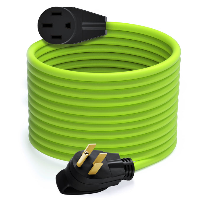 GearIT Generator Extension Cord - 50-Amp 250-Volt - NEMA 14-50P to 14-50R, Green - GearIT