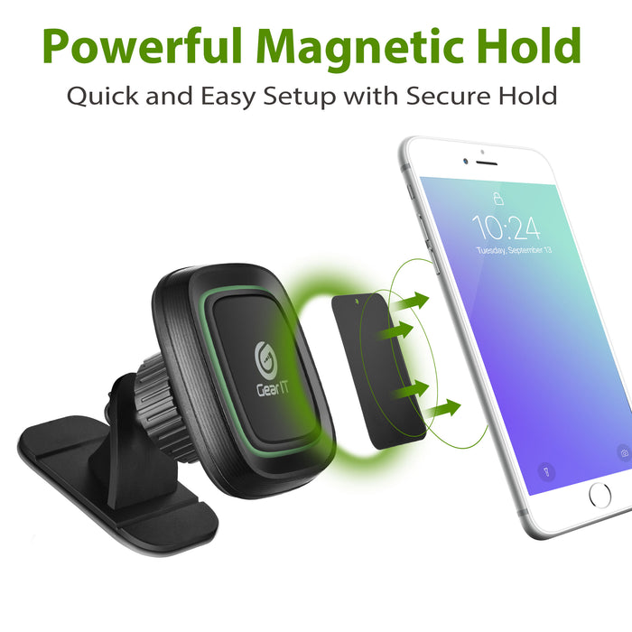 GearIT Dashboard Stick On Magnetic Phone Car Mount Phone Holder Black - www.gearit.com