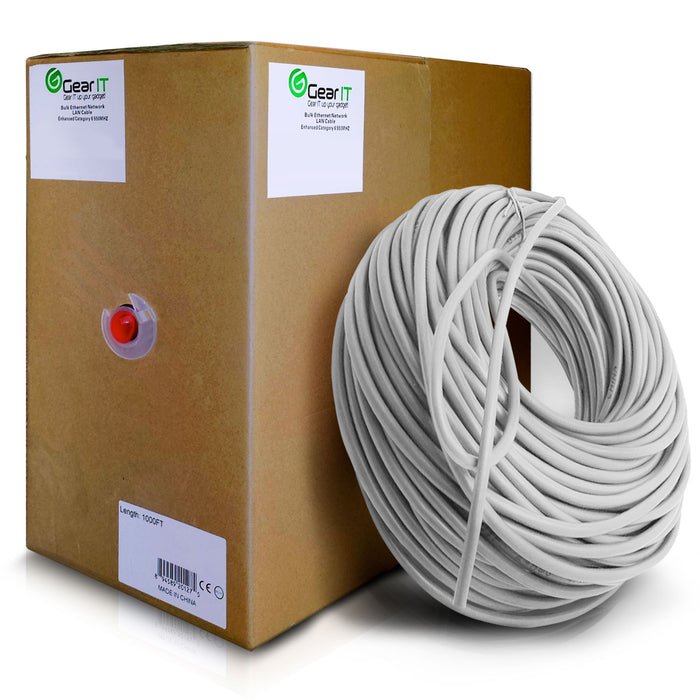 GearIT 1000 Feet Bulk, Cat5e Ethernet Cable, 350Mhz, 24AWG, Solid Bare Copper Wire, (CMP) Plenum Rated, UTP, Pull Box