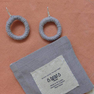 sustainable ethical handmade handloom slow-fashion Earrings Grey Handmade Naturally Dyed Cotton Earrings made in sri lanka