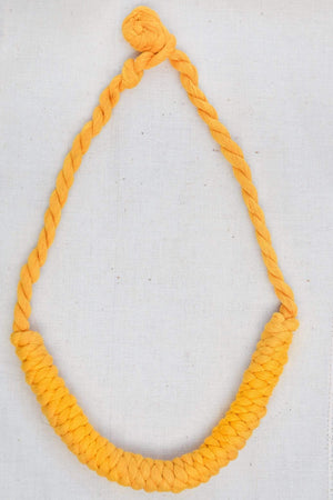 sustainable ethical handmade handloom slow-fashion Necklace Turmeric Handmade Naturally Dyed Cotton Knotted Necklace made in sri lanka