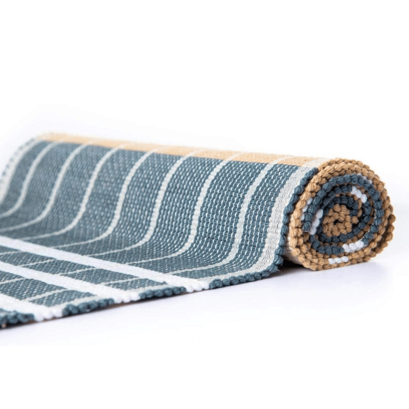 sustainable ethical handmade handloom slow-fashion Handwoven Table Runner | Horizon Navy Blue (4'x1') made in sri lanka