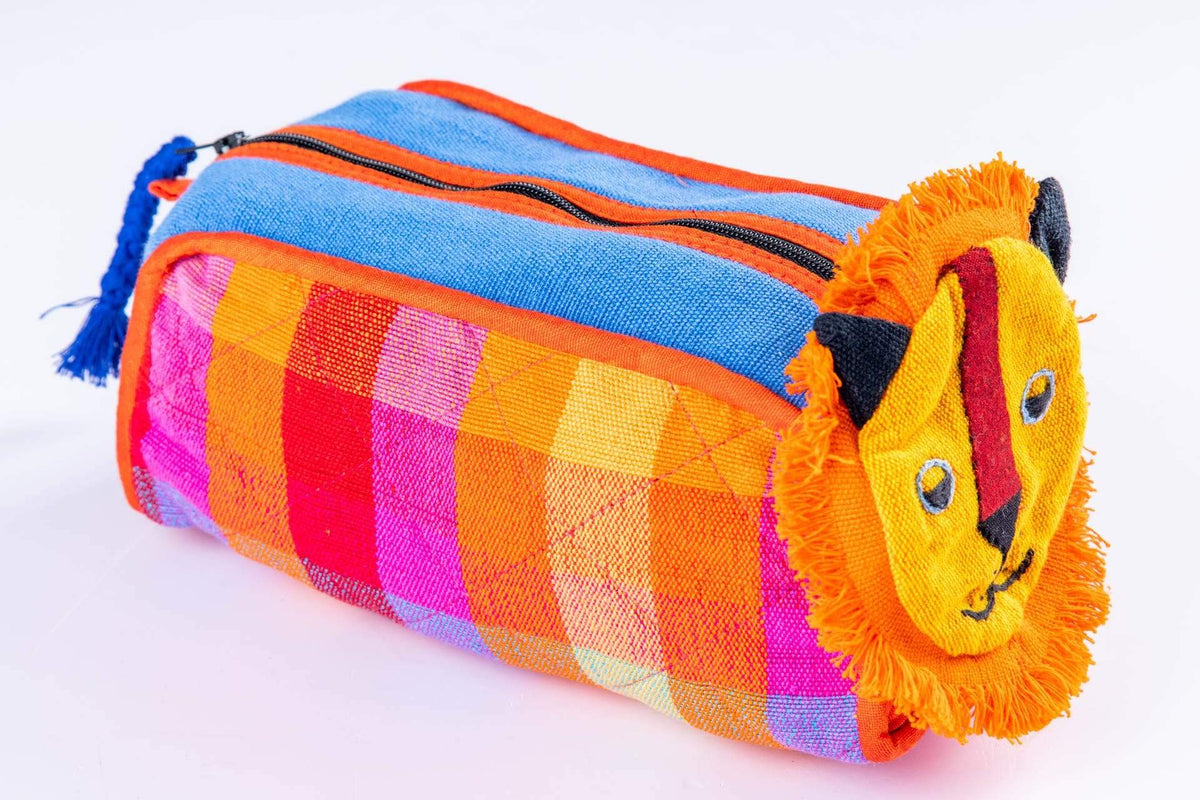 sustainable ethical handmade handloom slow-fashion D Kids Travel Accessory Bag [Lion] made in sri lanka