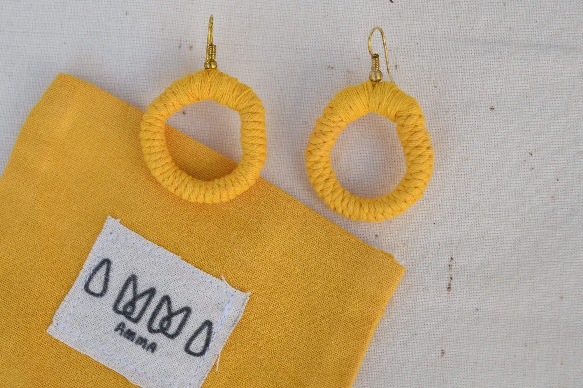 sustainable ethical handmade handloom slow-fashion Naturally Dyed Earrings | Tumeric made in sri lanka