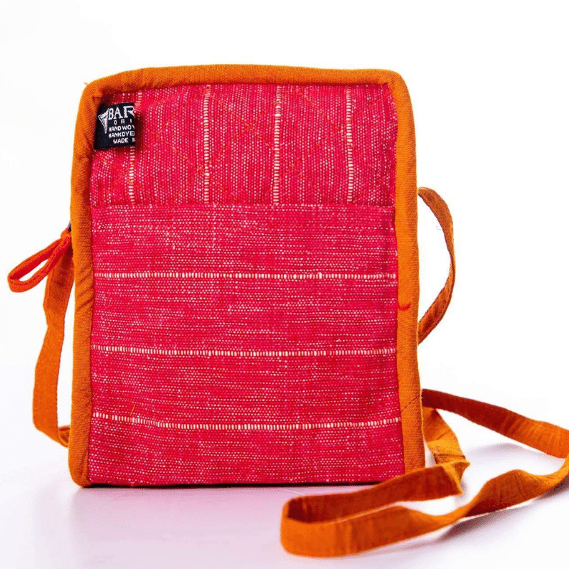 sustainable ethical handmade handloom slow-fashion Small Crossbody Cell Phone Bag | Amaranth made in sri lanka