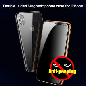 Luxury Full Body Protective Magnetic Case Anti-peeping Two Side Glass Cover For IPhone  X/XS XR XS MAX