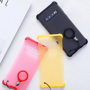 Airbag Bumper Four Corners Anti-fall Frosted Cover with Ring Lanyard for Samsung S10 S10+ S10E