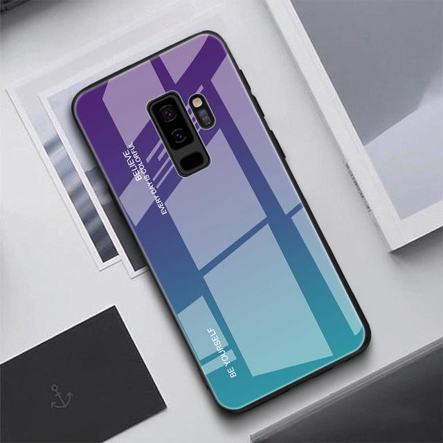Gradient Tempered Glass Back Anti-scratch Protective Case for Samsung Note 9 Note 8 S9 S9Plus S8 S8Plus