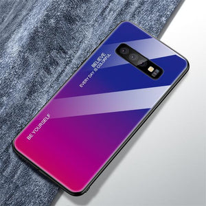 Gradient Tempered Glass Back Anti-scratch Protective Case for Samsung Galaxy S10 S10 Plus S10 Lite