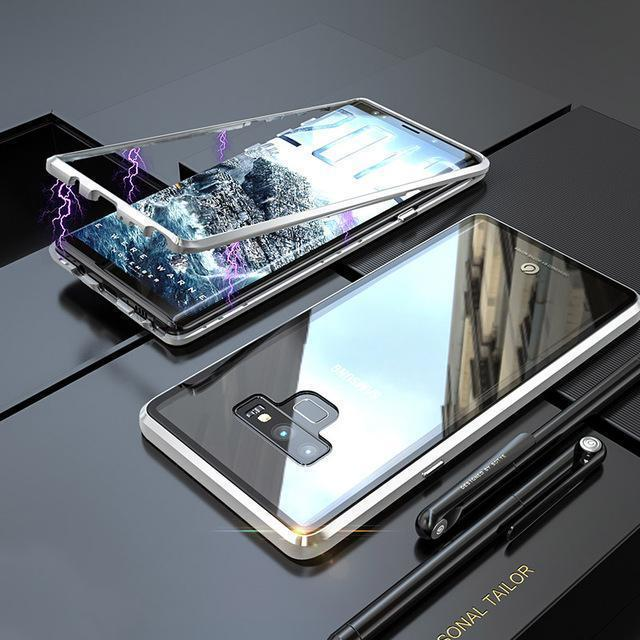 Transparent Tempered Glass Magnetic Adsorption Phone Case for Samsung Note 9