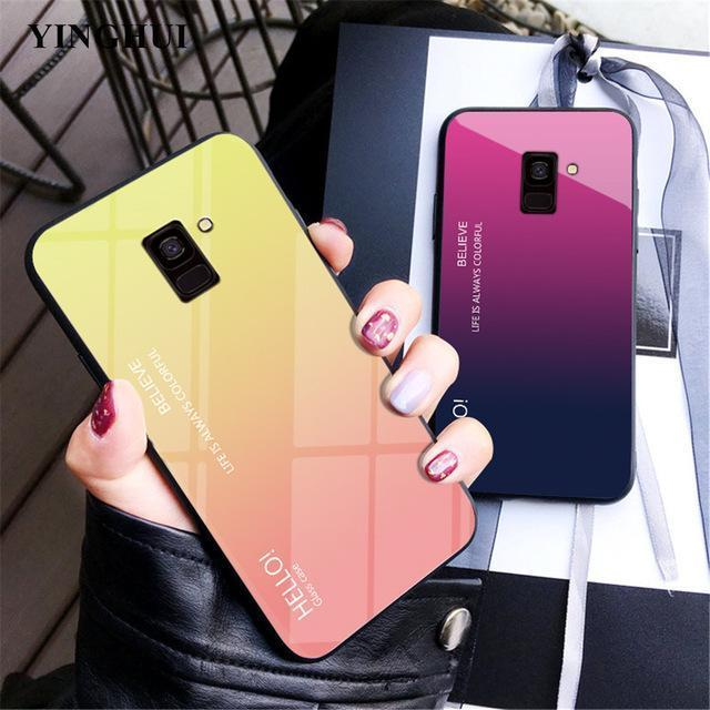 Gradient Tempered Glass Back Anti-scratch Protective Case for J4 J6 J8 J4 Plus J6 Plus