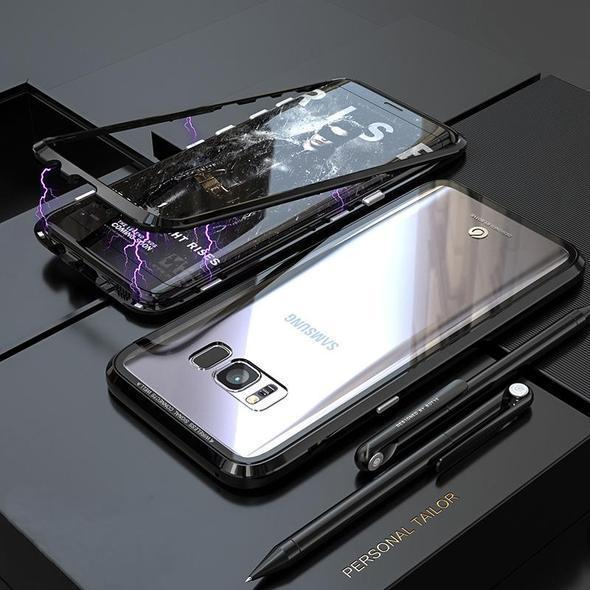Transparent Tempered Glass Magnetic Adsorption Phone Case for Samsung S8 S8Plus