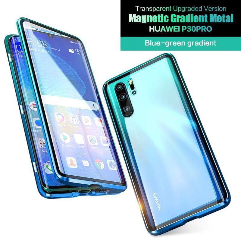 Luxury Magnetic Gradient Metal Aluminum AlloyTransparent Upgraded Version Two Side Glass Cover Phone Case For HUAWEI P30Pro