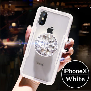 Phone Case with Diamond Airbag Stand Holder For iPhone XS Max XR XS X 6 6s Plus 7 8 Plus