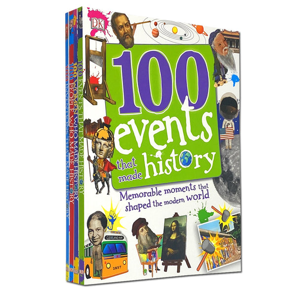 100 History Series 4 Books Collection Set, 100 People Who Made History, 100 Events, 100 Inventions, 100 Women