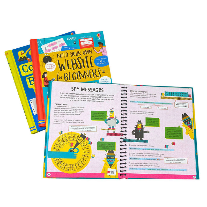 Usborne Coding For Beginners 3 Books Set Collection Using Sratch, Using Python and Build your own website