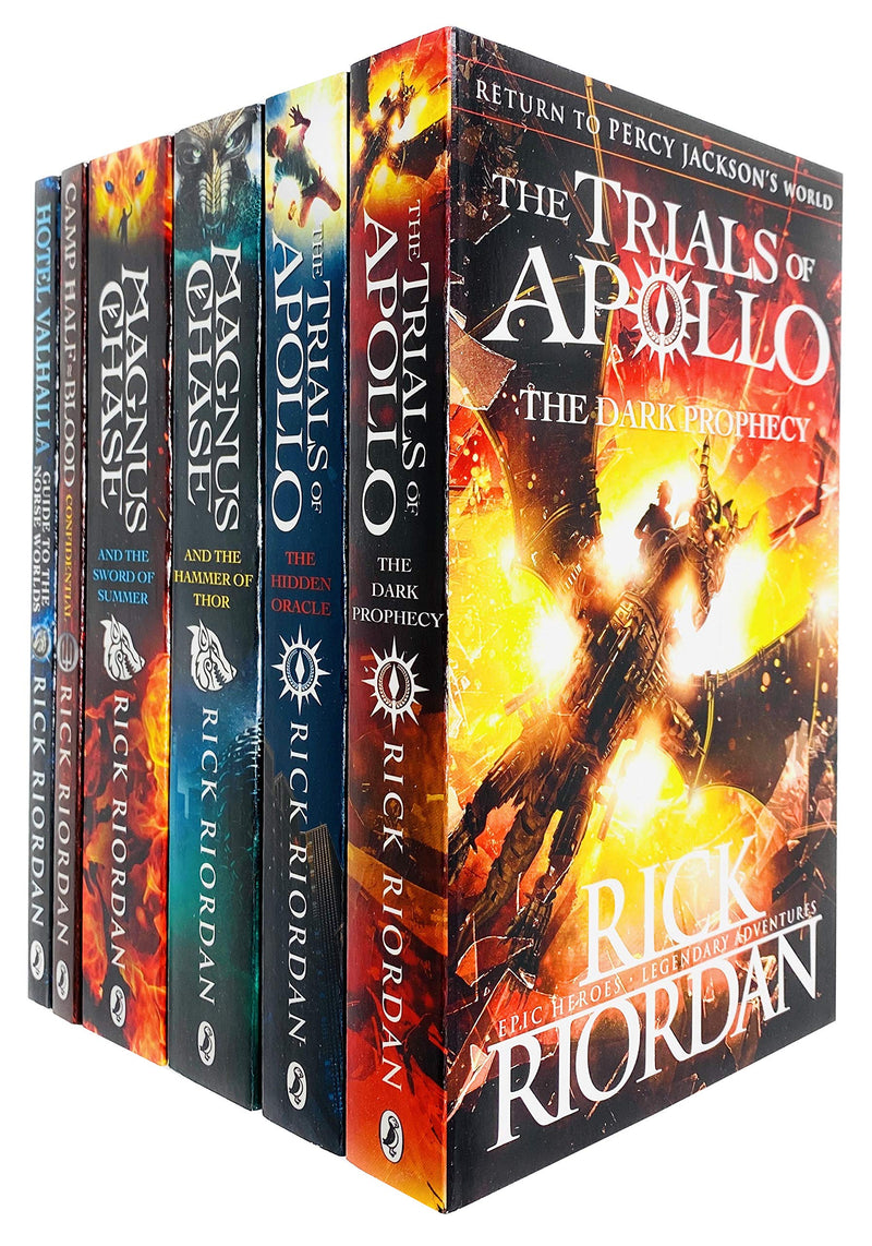 Rick Riordan Trials of Apollo and Magnus Chase Series 6 Books Collection Set