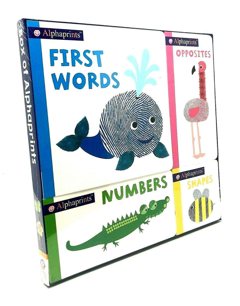 Box of Alphaprints 4 Books Set (First Words, Opposites, Numbers, Shapes)
