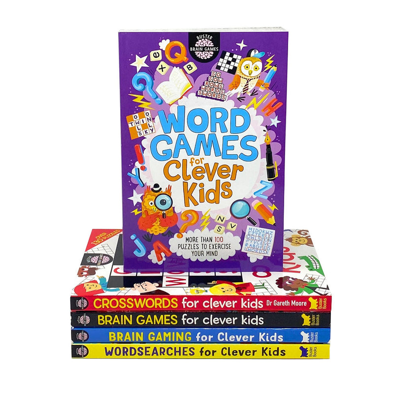 Clever Kids 5 Books Collection Set (Brain Games,Wordsearches..) By Gareth Moore