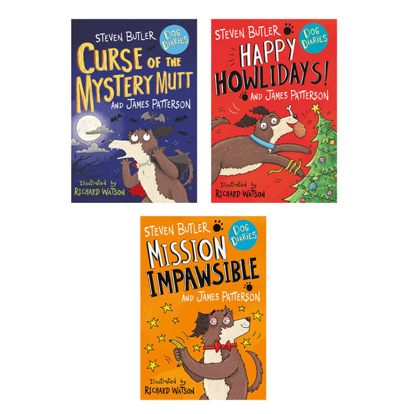 Dog Diaries 3 Books Collection Set (Curse of the Mystery Mutt,Happy Howlidays..)