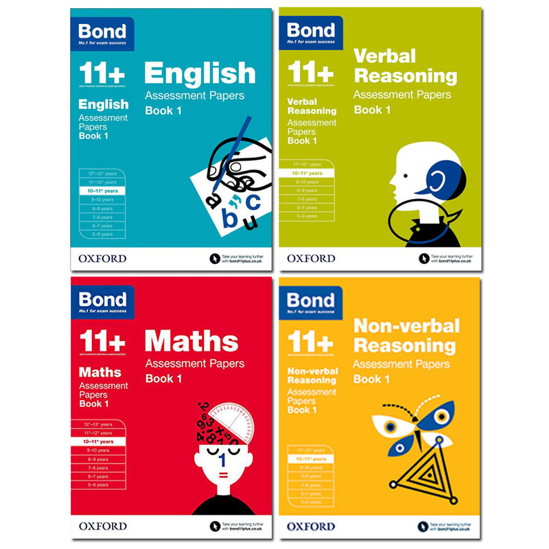 Bond 11+ English 4 Books Set Ages 10-11+ Inc Maths,English,Verbal and Non-verbal