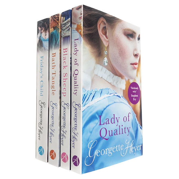 Georgette Heyer 4 Books Collection Set (Lady of Quality,Black Sheep,Bath Tangle