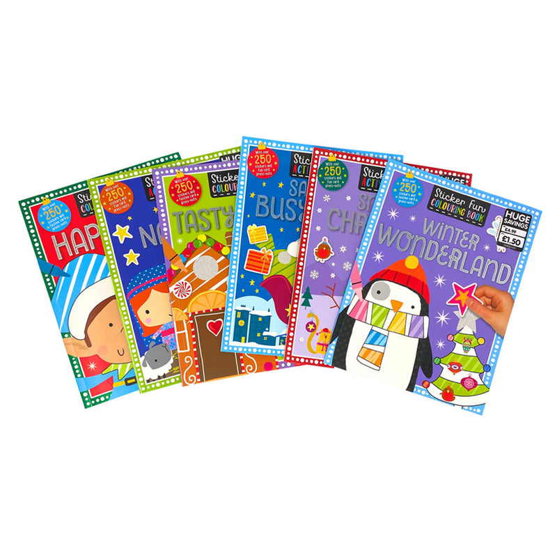 Childrens Christmas Colouring Activity Fun 6 Books Collection Set Over 250 Stickers and Card Press Outs