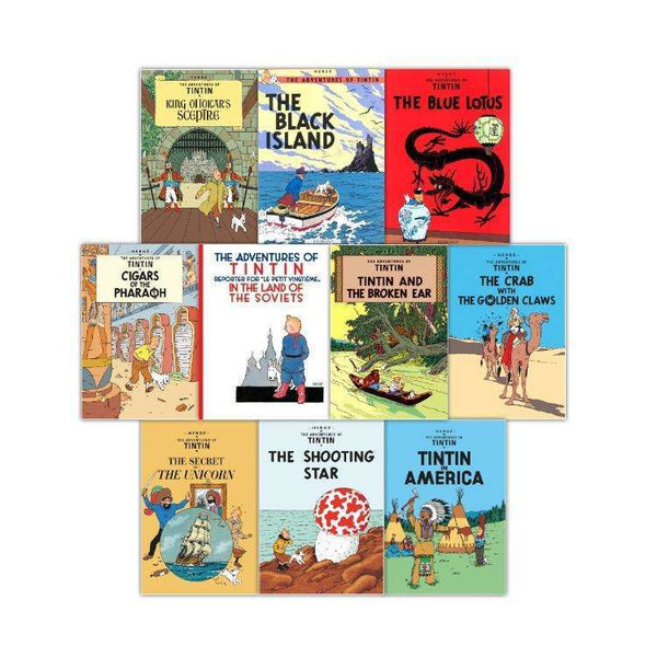 Adventures of Tintin 10 Books Collection Set Series 1-2 Tintin in America,Unicor