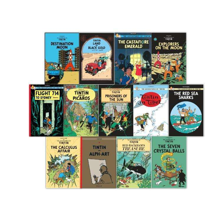 Adventures of Tintin 13 Books Collection Set Series 3-5 Prisoners of the Sun