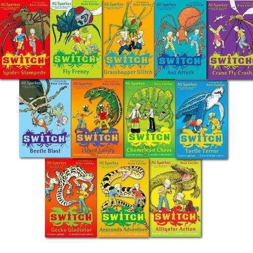 Ali Sparkes Switch Series 12 Books Set Collection, Fly Frenzy, Spider Stampede..