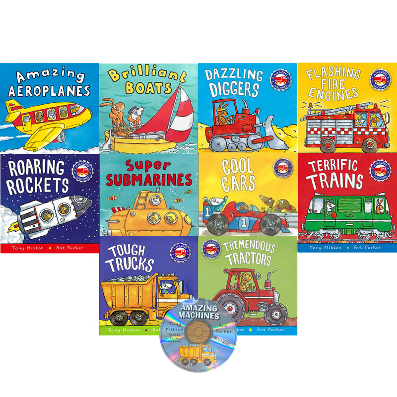 Amazing Machines Collection 10 Flat Books Set Inc Story CD By Tony Mitton