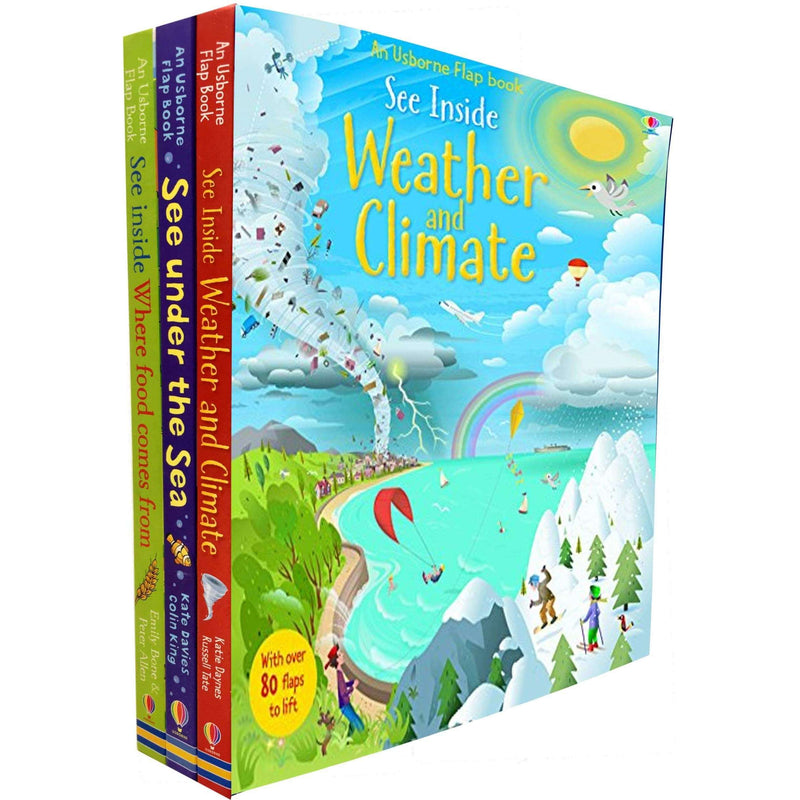An Usborne Flap Book, See inside 3 book set collection - Food, Weather and Sea