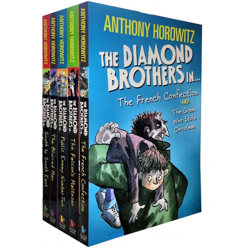 Anthony Horowitz Diamond Brothers Collection 7 Titles in 5 Books Set Blurred Man