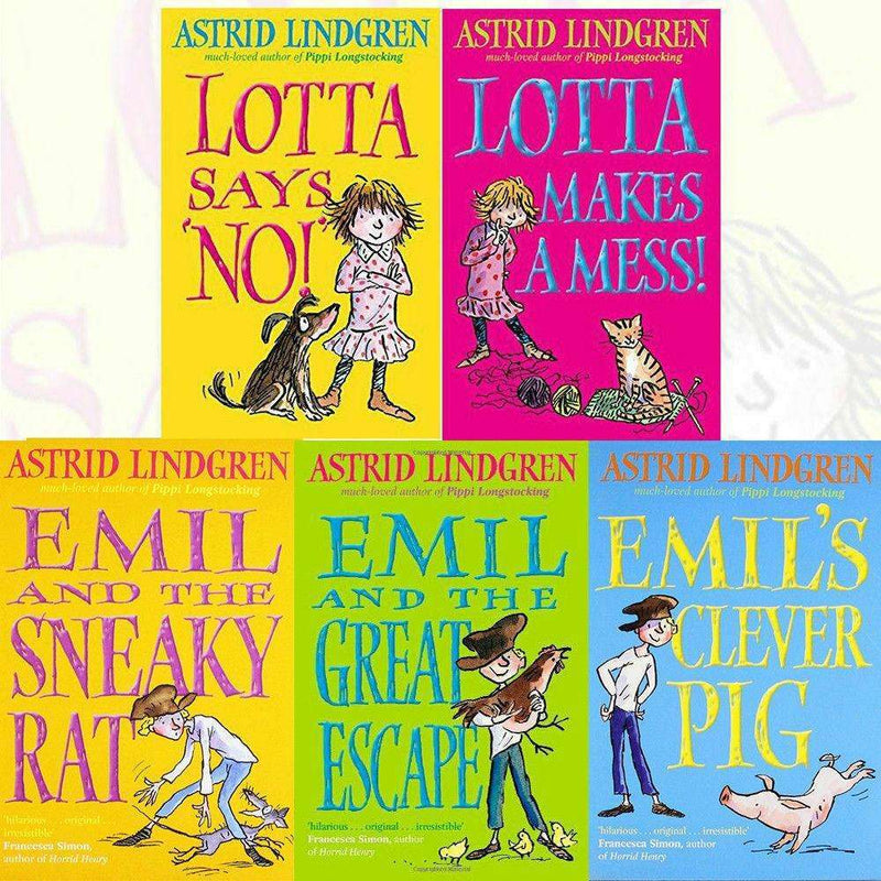 Astrid Lindgren Collection 5 Books Set Emil and the Great Escape, Lotta makes a