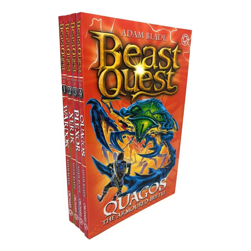 Beast Quest Series 15 Adam blade 4 Books Collection Set, Xeric, Wardok, Quagos
