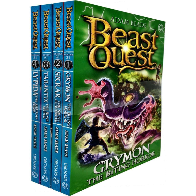 Beast Quest Series 21 Adam blade 4 Books Collection Set Grymon, Skrar, Tarantix