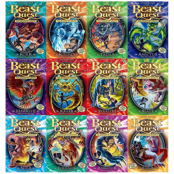 Beast Quest Series 4-5 By Adam Blade Collection 12 Books Set Luna Moon Wolf NEW