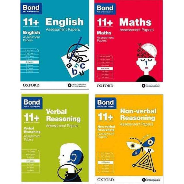 Bond 11+ English 4 Books Set Ages 8-9 Inc Maths,English,Verbal And Non-Verbal