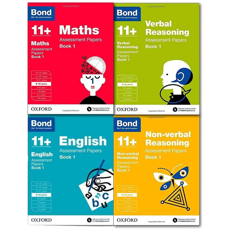 Bond 11+ English 4 Books Set Ages 9-10 Inc Maths,English,verbal and non-verbal