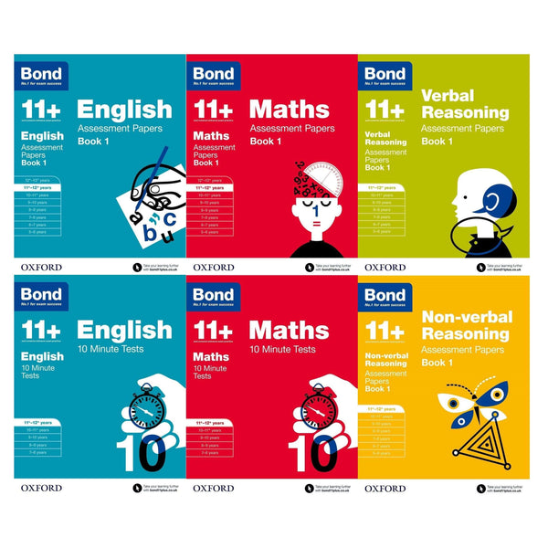 Bond 11+ English & Maths & Verbal 6 Books Set Ages 11-12+ Assessment and Tests