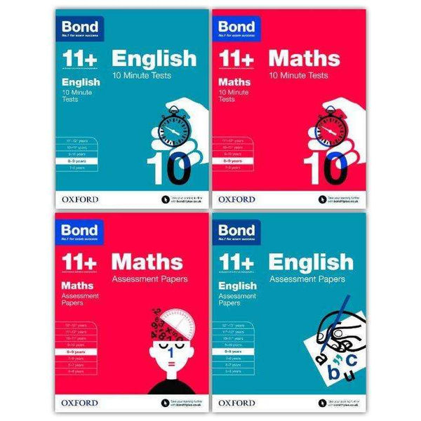 Bond 11+ English & Maths 4 Books 8-9 Years Inc Assessment and Tests