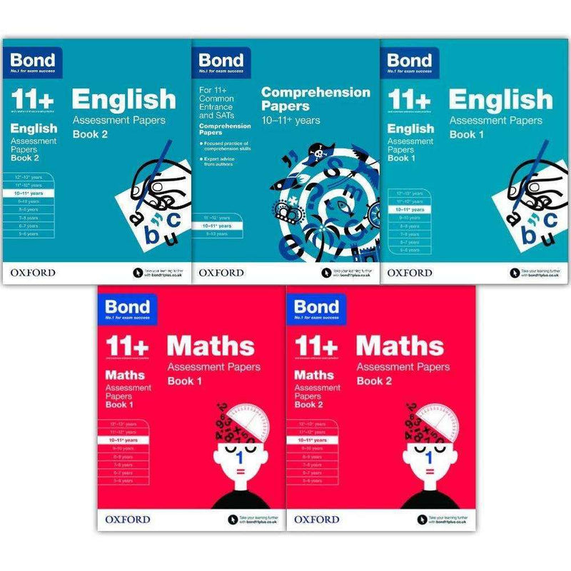 Bond 11+ English & Maths x5 Books 10-11+ years Inc Assessment and Tests