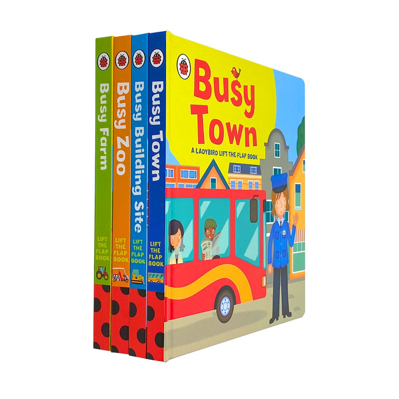 Ladybird Lift The Flap 4 Books Collection Set Busy Town, Busy Zoo, Busy Farm