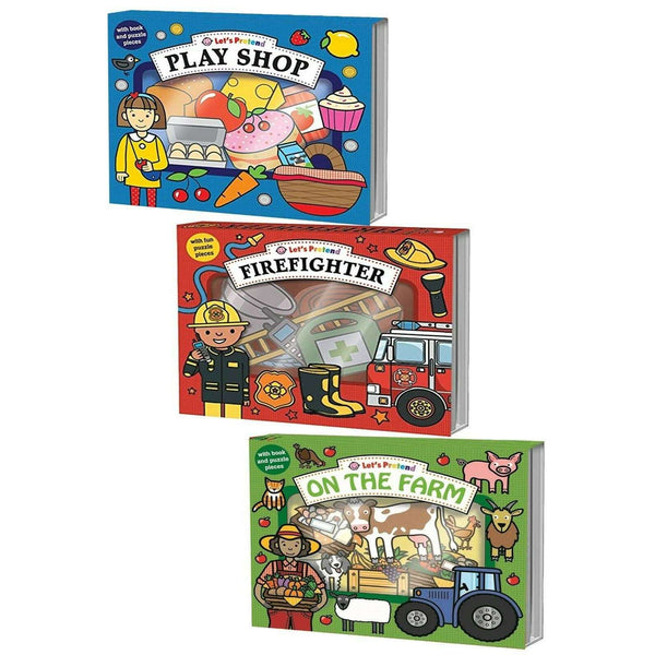 Childrens Let's Pretend 3 Book Sets By Roger Priddy Firefighter, Play Shop Activity