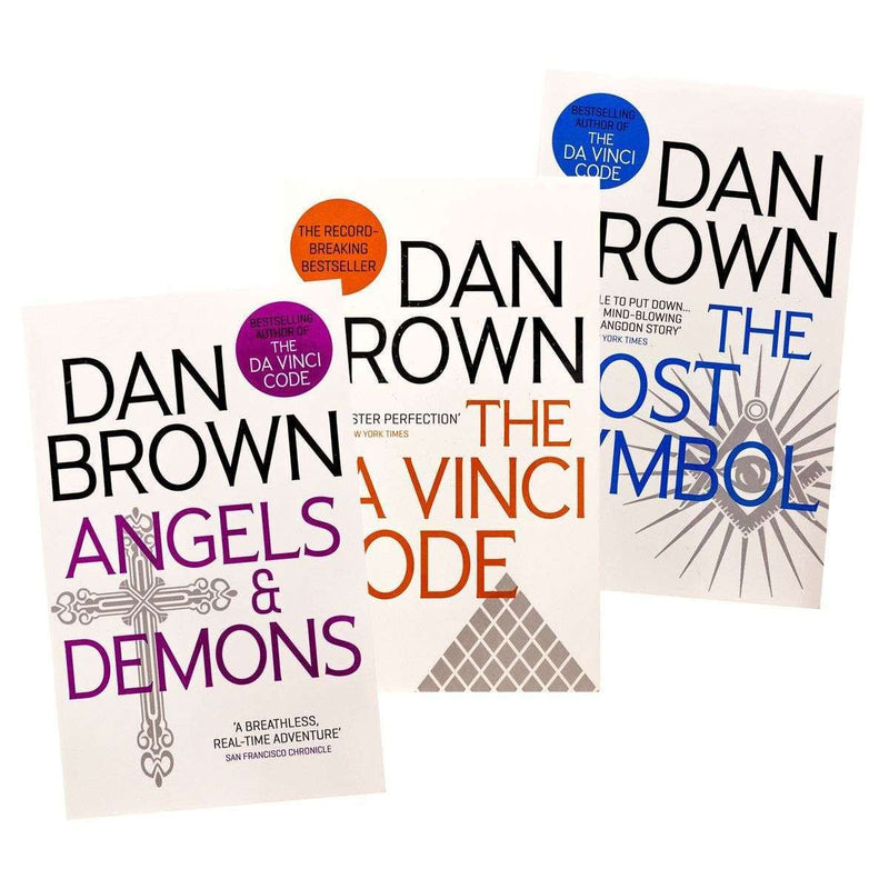 Dan Brown 3 Books Set Collection Angels & Demons, The Da Vinci Code,...etc